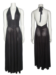 Vintage Stunning Miss Dior Semi Sheer Black Halter Tie Neck Stylized Waistband Disco Grecian Mod Long Flared Dress