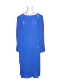 Vintage Alison Peters Blue Black Window Pane Sheer Overlap Asymmetrical Overlay Long Disco Wrap Dress