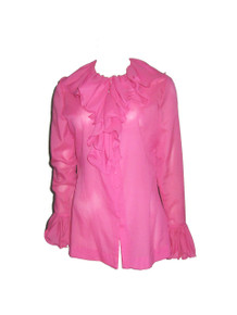 Vintage Pink Ruffle Flounce Neck Collar Long Sleeve Sheer Buttoned Front Victorian Tunic Shirt Blouse Top