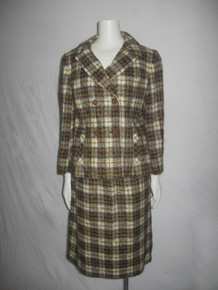 Vintage Hahne & Company Pure Wool Multicolor Tartan Plaid Double Breast Buttoned Jacket Skirt Set 2pc Outfit Ensemble