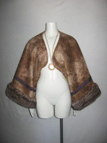 Vintage Luxurious Brown Multi-color Aztec Ribbon Trim Ultra Suede Faux Fur Plush Shrug Jacket