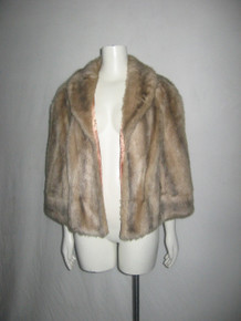 Vintage Montgomery Ward Shawl Collar Lined Short Plush Faux Fur Coat Jacket Cape
