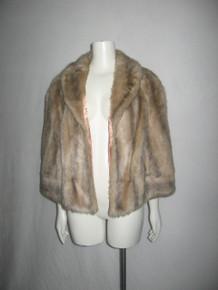 Vintage Montgomery Ward Shawl Collar Lined Short Plush Faux Fur Coat Jacket Cape