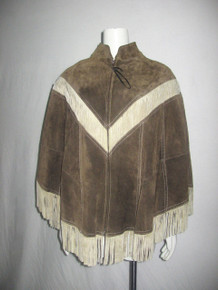 Vintage Cape-Poncho Leather Suede Two Tone Zip Front Fringe Cape Poncho Outerwear Jacket