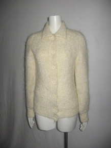 Vintage Cristy's Wool Nylon Off White Brushed Fuzzy Boucle Hairy Collar Button Front Sweater Cardigan