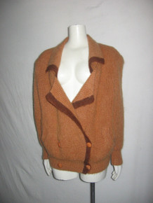 Vintage  Yoo Sang Sook  Knitwear Wide Notch Collar Double Breasted Buttoned Slouchy Boyfriend Sweater Cardigan w/ Contrast Trim