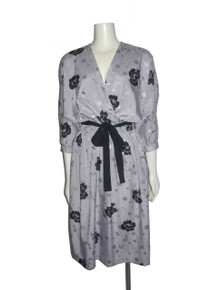 Vintage Taurus II Grey Black Multi Floral Print Plunging V-Neck Belted Dress