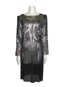Vintage Nancy Bracoloni For Shangri La Black Metallic Gold Silver Lurex Shimmery See Thru Sheer Dress