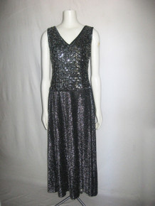Vintage Elegant Mary-Martin Florida Black Silver Sequins Embellished Metallic Lurex Sleeveless Double V-Neck Drop Waist Long Dress
