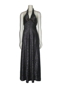 Vintage Metallic Silver Lurex Sequins Embellished Halter Disco Mod Long Dress
