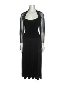 Vintage Tadashi Black See Thru Sheer Long Dress
