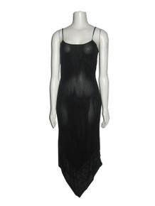 Vintage Banana Republic Made In Italy Floral Leaf Border Print Handkerchief Hem Strappy Caged Tie Back Black Slip Dress