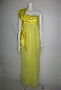 Vintage Stunning Designer Morton Myles Asymmetrical Yellow One Shoulder Strap Big Bow  Chiffon Satin Formal Long Gown Dress