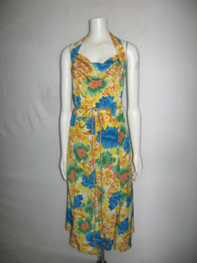 Vintage Robert Haik Paris New York Multi-color Floral Print Halter Cowl Neck Flared Silk Dress
