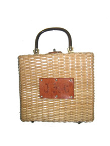 Vintage Stunning Rectangular Straw Basket Wicker Turn Lock Closure Leather Trim Handbag