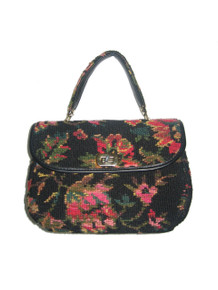 Vintage Spilene Made In USA Multi-Color Gold Black Floral Leaf Print Tapestry Needle Point Carpet Fabric Vinyl Compartment Mod Handbag