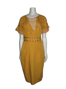 Vintage Betty Barclay Mustard Yellow Avant Garde Punk Rock Crochet Mesh Detail Dress