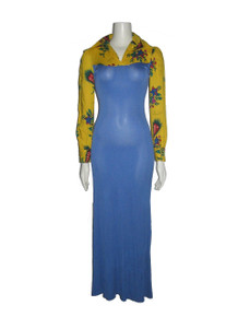 Vintage Rare Genesis Blue Yellow Multi-color Floral Print Bodycon Long Dress