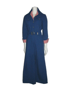 Vintage Saba California Blue White Stripe Mod Disco Belted Wide Leg Cargo Jumpsuit