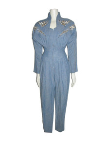 Vintage Option Light Blue Blue Applique Studs Embroidery Embellished Jumpsuit
