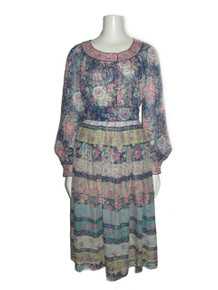 Vintage Dalani II Made In USA Multi-color Floral Print See Thru Sheer Buttoned Blouse Gathered Skirt 2pc Outfit Boho Ensemble