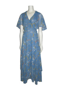 Vintage Light Blue Multicolor Floral Print Sheer Wide Shawl Collar Surplice Overlay Unusual Tie Waist Long Wrap Dress