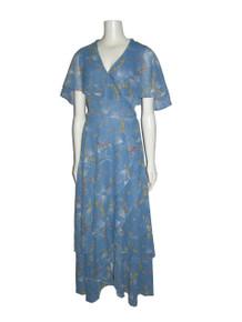 Vintage Light Blue Multicolor Floral Print Sheer Wide Shawl Collar Surplice Overlay Unusual Tie Waist Long Wrap Dress
