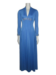 Vintage Dan Lee Blue Rhinestones Pearl Beads Embellished Disco Mod Long Flared Dress