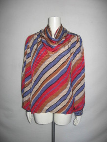 Vintage Talls B Robert Multicolor Diagonal Stripe Cowl Neck Disco Blouse
