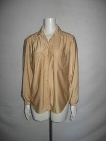 Vintage Quiana By Lady Arrow Beige Button Front Long Sleeve Shirt Blouse w/ Buttoned Shoulder Tabs