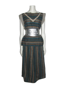 Vintage Bymount Multi-color Vertical Horizontal Striped Avant Garde 2pc Blouse + Skirt Set Outfit Ensemble