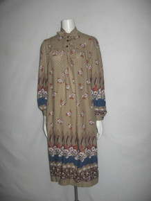 Vintage Beige Multicolor Floral Leaf Border Polka Dot Print Tie Neck  Boho Smock Dress