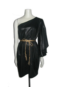 POYZA Black Cotton Sateen Asymmetrical One Shoulder Flutter Angel Sleeve Short Mini Dress w/ Metallic Gold Rope Fringe Belt