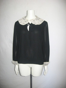 Vintage Black Ivory Lace Trim Long Sleeve Tie Neck Tunic Blouse Top