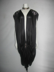 VTG Black Metallic Gold Silver Lurex Vertical Stripe Avant Garde Plunging V-Neck Strappy Flapper Shirred Draped Gatsby Slouchy Dress
