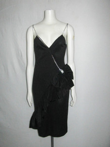 Vintage Climax For David Howard Karen Okada Made In USA Polyester Strappy Rhinestone Big Bow Embellished Black Ruffled Disco Dress