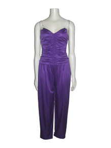 Vintage Sprouts By Vicky Vaughn Purple Shirred Draped Rhinestone Strap Disco Stretch Knit Bodysuit Jumpsuit