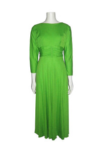 Vintage Neon Lime Green Buttoned Shirred Waistband Detail Deep V Back Neck Long Flared Siren Dress w/ Rosette Pin