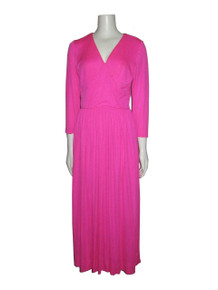 Vintage Futura Couture Of New York Hot Neon Pink V-neck Stylized Waistband Gathered Long Siren Dress