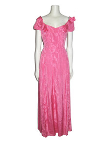 Vintage Bianchi Pink Moire Long Formal Dress w/ Shoulder Bows