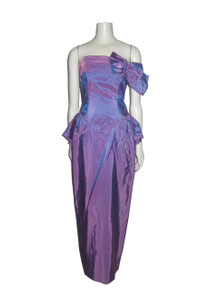 Vintage Dance Allure Mauve Pleated Origami Strapless Bustier Fitted Peplum Wiggle Long Gown Dress w/ Big Bow & Back Slit
