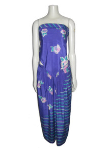 Vintage Malia Multi-color Floral Stripe Print Multi-functional Scarf and Pleated Skirt 2pc Ensemble