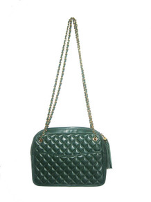 Vintage Wordly Things Made In Italy Green Rectangular Zipper Closure Gold Chain Tassel Handle Strap Compartment Pouch Leather Quilted Handbag
