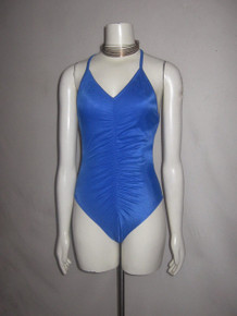 Vintage St. Tropez Made USA Blue Shirred Strappy Cross Back One Piece Multi-functional Bathing Suit Swimsuit Bodysuit Dance Wear Top