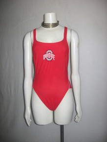 Vintage Waterlines Made In USA Ohio State Red Strappy Cross Back Multi-functional Leotard Bodysuit Bathing Suit Swimsuit