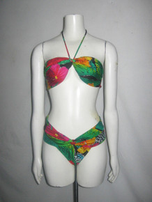Vintage Rare Gottex Made In Israel Multi-color Floral Print Knotted Tie Neck Halter Top High Waist Bottom 2pc Bathing Suit Swimsuit Size 14