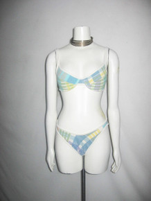 Vintage Anne Cole Collection Made In USA Multi-color Plaid Strappy Bra Bikini 2pc Bathing Suit Swimsuit