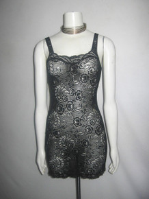 Vintage Warners  Made In USA Black Floral Leaf Scallop Edge Mesh Lace Strappy Multi-functional Fitted Short Mini Undergarment Slip Dress