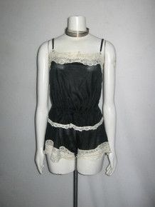 Vintage Made In USA Black Off White Contrast Lace Trim 2pcs Strappy Cami Top +Shorts Multi-functional Lingerie Sleepwear
