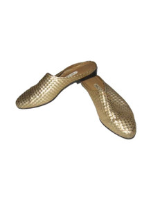 Vintage Cute Nicole Dusty Metallic Gold Leather Upper Hippie Boho Made In Brazil Woven Flat Heel Oxford Loafer Slip On Slide Shoes